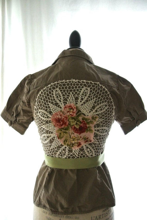 Bohemian Gypsy fall jacket, romantic shabby clothing, womens clothing, rustic cottage, boho, rose applique, romantic