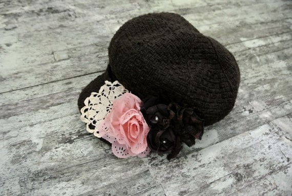 Reserved for Zoe cottage rose cap, shabby rose embellished hat, fall, rustic country chic, gypsy cowgirl rose