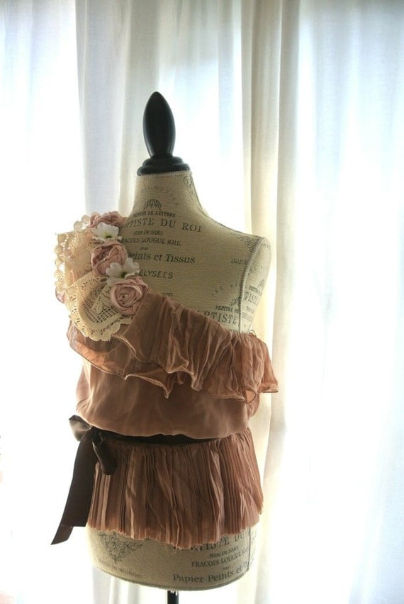 Romantic one shoulder shirt, shabby top, country chic pleated shirt, womens clothing, gypsy cowgirl clothing, fall
