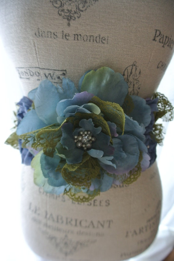 Shabby lace belt, country chic sash, Custom Bridal Belt For C, sage green n blue, Gypsy cowgirl rose, farmgirl, True rebel clothing