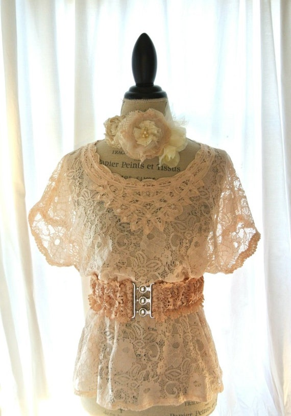 Battenburg lace shirt, fall blush top, cottage clothing, country chic, rustic shabby chic clothing, vintage large top