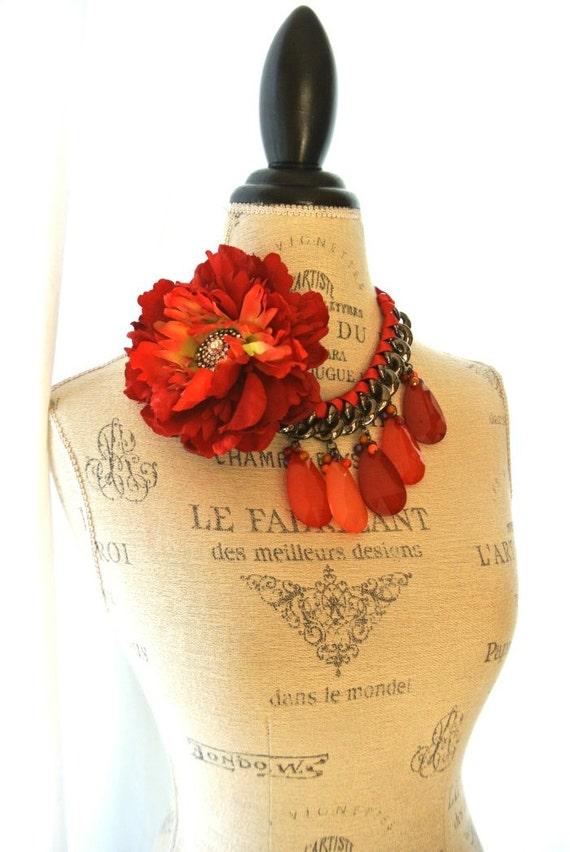 Romantic red necklace, cottage chic bib necklace, tear drop, ribbon, rustic statement necklace, french country, paris, country chic