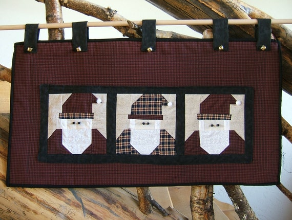 Three Santas Christmas Card Holder Wall Hanging By