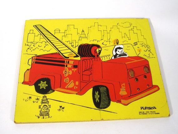 Vintage Playskool Wooden Fire Truck Puzzle