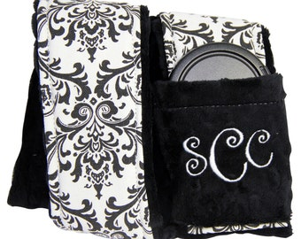 Personalized Camera Strap Cover Set in Fabulous White/Black Damask with Monogram Dual Lens Cap Sleeve