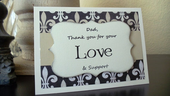 Thank You DAD Card Vintage Fleur de Leis Style Damask for Weddings or General Occasions
