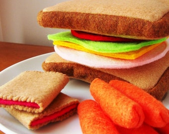 Felt Food Sandwich Eco Friendly Pretend Play Food Set for Childrens Toy Kitchen - Ham, Cheese, Lettuce, Tomato, Carrots, Cookies, PLUS PB&J