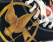 Custom Order for sheikhamatar: Custom Hand-Painted Hunger Games Converse All Star Hi-Tops