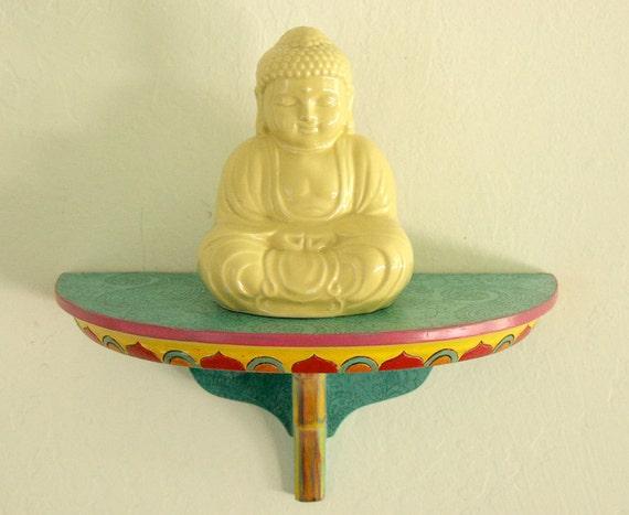 Boho turquoise paisley half round wall shelf with bright decorative edges