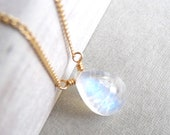 Rainbow Moonstone Necklace, Smooth Rainbow Moonstone Gemstone Pendant, Gold Filled Chain Necklace