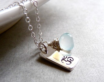 Om Necklace, Ohm Necklace, Blue Chalcedony Gemstone, Yoga Necklace, Spiritual Jewelry, Sterling Silver Charm Necklace