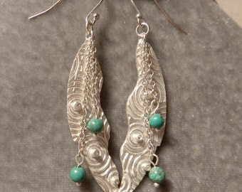 Fine Silver Earrings with Turquoise Beads