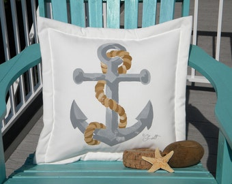 """Anchor and line painted pillow 20"""" all weather nautical coastal beach cabin sailboat boating indoor outdoor yacht schooner"""