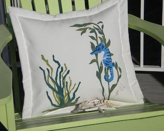 """Outdoor pillow UNDERSEA GARDEN seahorse 20"""" (50cm) blue green coastal ocean sea beach shelling SCUBA marine sealife Crabby Chris Original"""