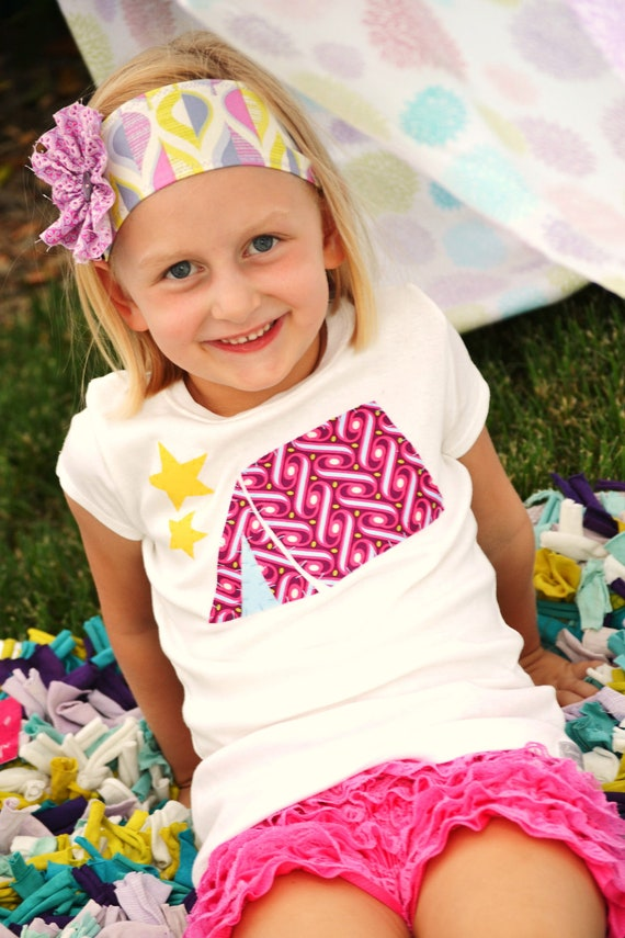 Girls Glam Camping Tent Applique Shirt for Glamping Party in Purple and Blue with Yellow Stars