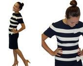 VIntage Dress - 1980s Navy Blue and White Stripes Fitted Nippon Boutique Dress - Cocktail Party Dress