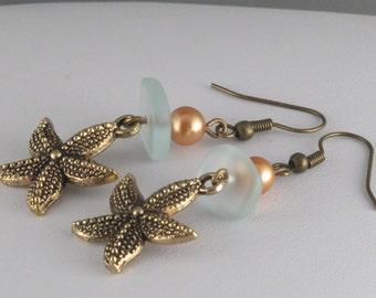 Sunset Starfish Dangle Earrings