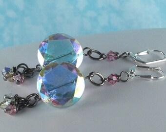 Vintage Rainbow Crystal Button Earrings