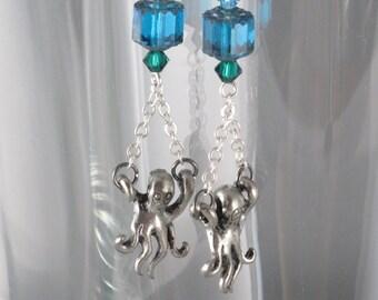 Octopus Garden Silver Blue Sea Earrings