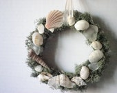 Beach Decor Green Moss Grapevine Wreath With Seashells And Sea Glass