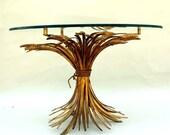 Italian Gilt Wheat Round Table / Hollywood Regency Tole Table