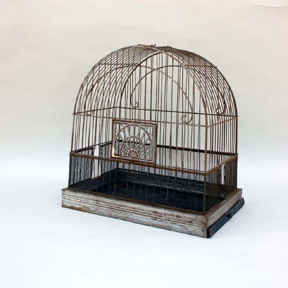 Wire Bird Cage / Vintage Crown Birdcage