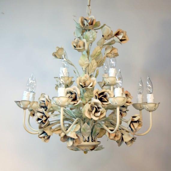 Italian Tole Chandelier Shabby Rose Light By
