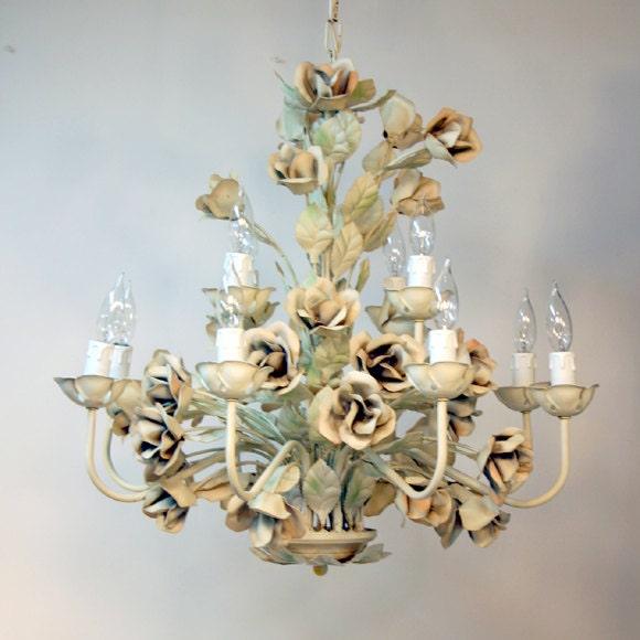 Trendy Chandeliers: Italian Tole Chandelier / Shabby Rose Light Fixture