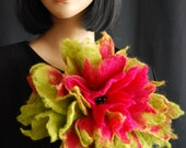 Eco Fashion, Handmade, Large, Layering, Statement felted wool Flower Brooch, Corsage, Pin ,EYE Catching, XXL Size, Wearable Art