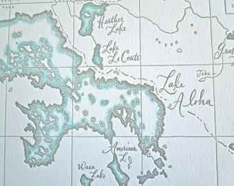 Desolation Wilderness, Sierra Nevada California, Letterpress printed Map