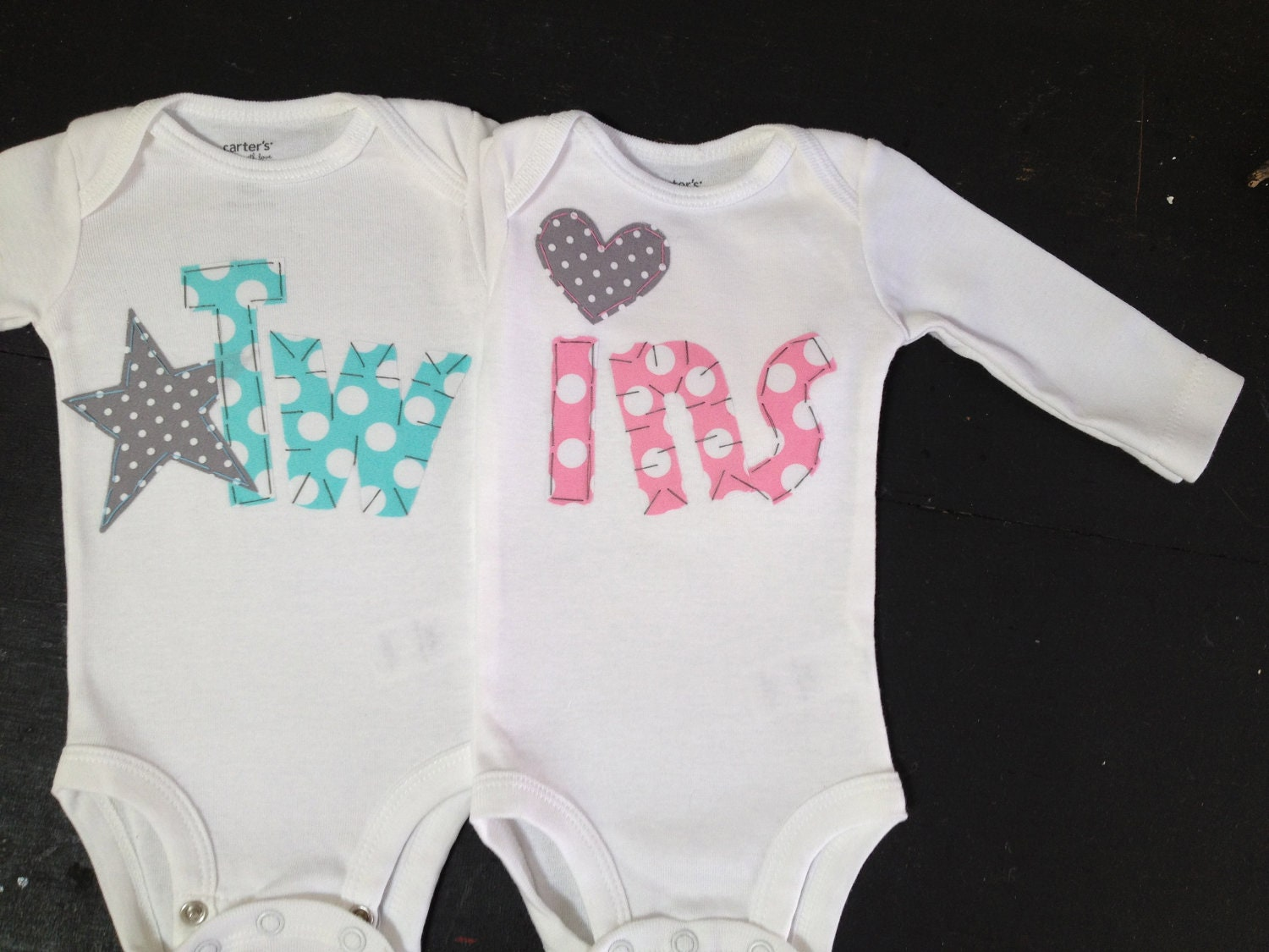 Boy Girl Twin bodysuits Bubblegum Pink and by ...