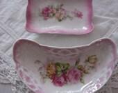 Set of 2 Vintage Pink Rose Dishes, 1 marked Germany   ECS