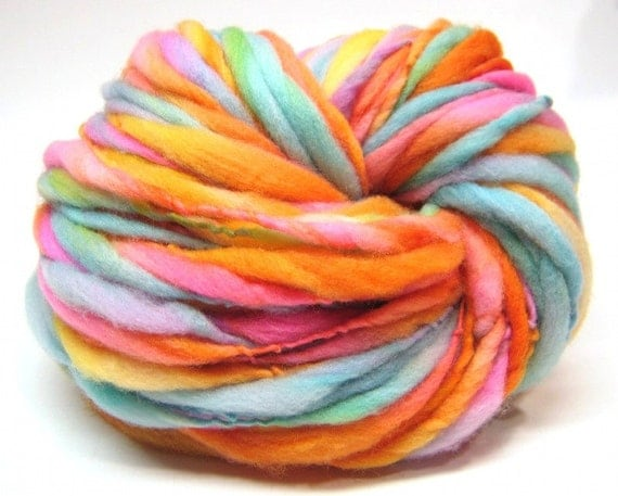 Super bulky handspun rainbow yarn, spun thick and thin in merino wool- 75 yards, 2.65 ounces/ 75 grams