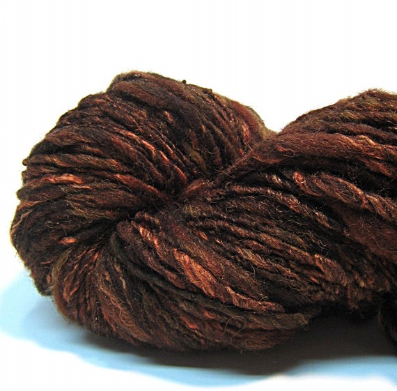 Handspun yarn in merino wool, alpaca bamboo silk and sparkly copper angelina-  100 yards, 2.5 ounces/ 72 grams