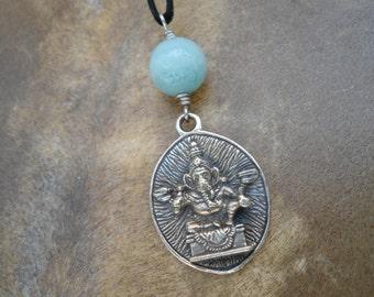 Ganesh Pendant Ganesh Amulet  Ganesha Pendant Lord Ganesha Necklace Yoga Jewelry Hindu Jewelry Hippie  Hindu God Necklace Amazonite Bohemian