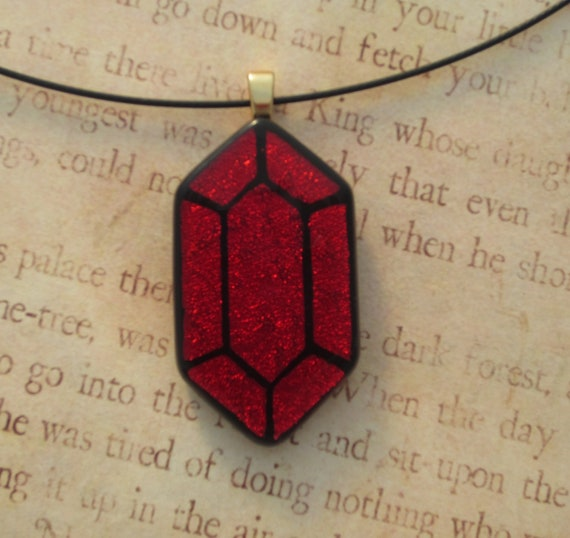 Legend of Zelda Red Rupee Fused Glass Pendant Skyward Sword