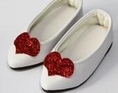 """White Red-Heart Embellish Slip On for BJD Dolls 14"""" Kish Chrysalis, Minifee, MSD S00059B"""