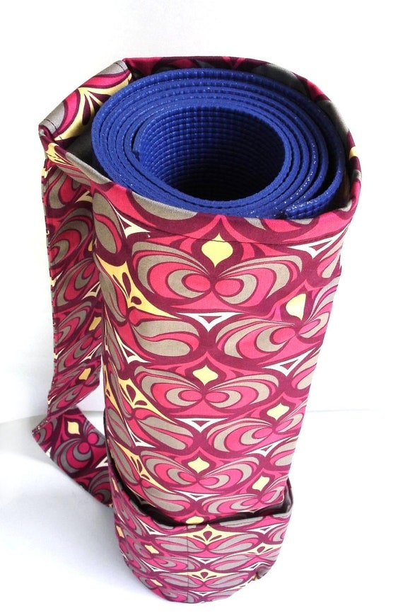 Yoga mat tote bag geometric mauve pink burgundy bold pilates namaste om exercise gym women