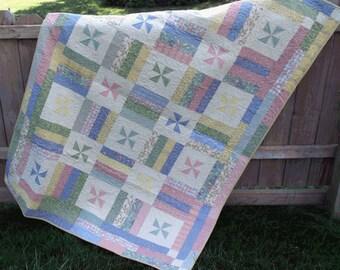 Pastel Pinwheel Lap Quilt