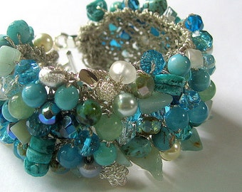 Blue Green Beachy Bridal Wedding Cuff Bracelet, MERMAID, Swarovski  Crystals, Semi Precious, Sereba Designs Exclusive, Hand Knit