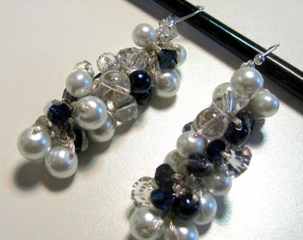 Bridal Wedding Earrings, Navy Blue, MIDNIGHT SAPPHIRE, Crisp White Pearls, Sparkling Crystal, Hand Knit Cluster