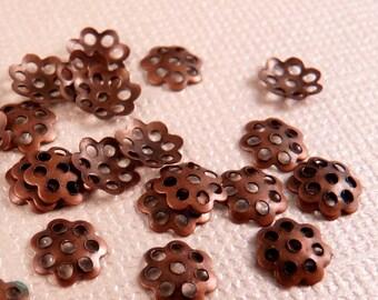 Copper Bead Caps 50 Copper Findings Antique Copper Filigree Copper Spacers