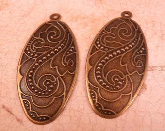 Brass Pendant Scroll Pendant Metal Pendant Brass Bead Brass Findings