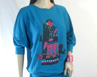 80s ETHNIC SLOUCH DRESS by Lida Souers M L