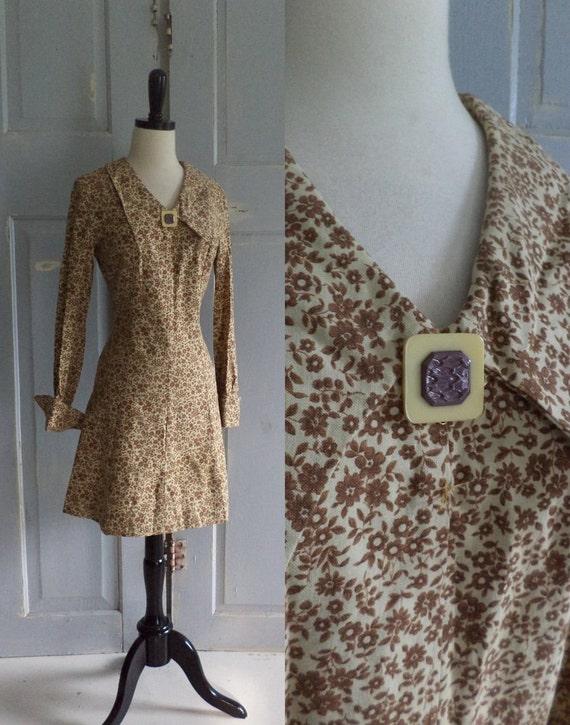 Vintage 1970s Dress 70s Mini Dress Cotton Floral Printed Hippie Womens Size Small