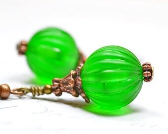 Kelly Green Beaded Earrings, Copper and Green Earrings, Vintage Bead Dangles, Irish Green Drops, Medium Green, Light Earrings