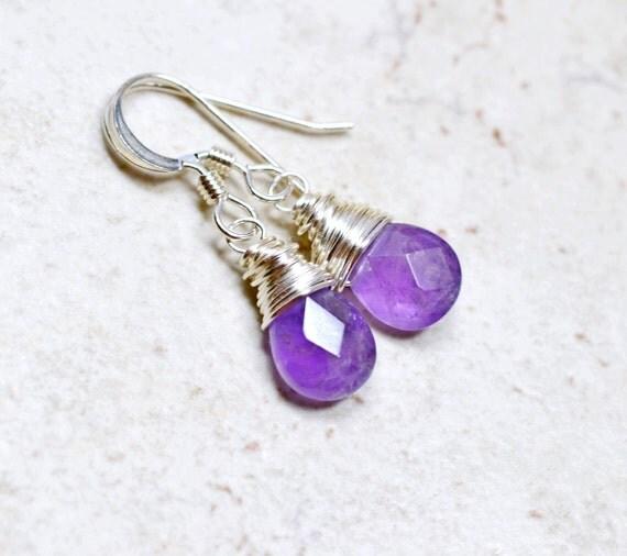 Tiny Genuine Amethyst Earrings / Sterling Silver Wire Wrapped Drops / Small Purple Gemstones Dainty Jewelry, February Birthstone Earrings