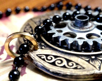 """Steampunk Gear necklace  with engraving on 24"""" black ball chain"""