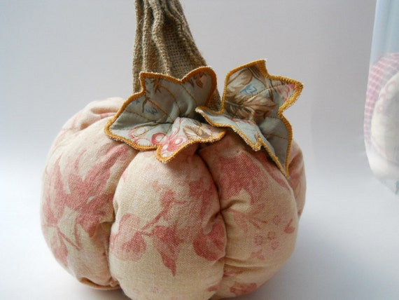 Thanksgiving Table Center Piece Adorable Soft Shabby Plump Little Primitive Autumn Harvest Pumpkin  Handmade from Decorator Fabrics