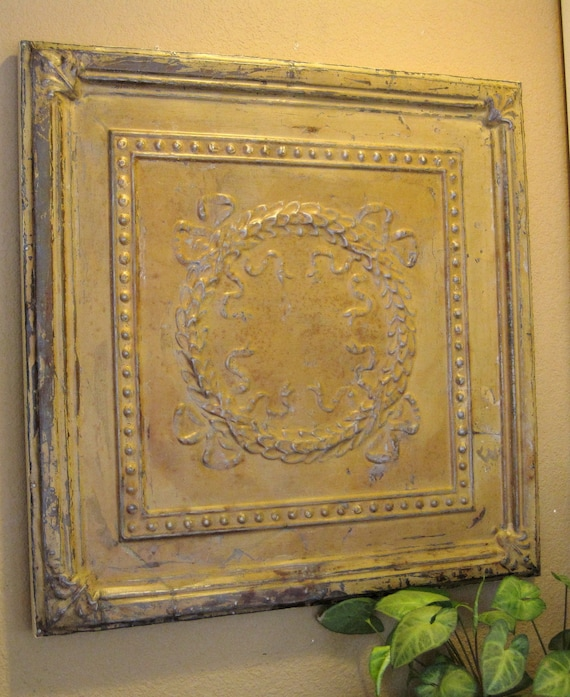 2'x2' Antique Ceiling Tin Tile.  Salvaged in Kansas. Original paint finish. Circa 1900.  FRAMED & Ready to Hang. Great for Magnet Board.